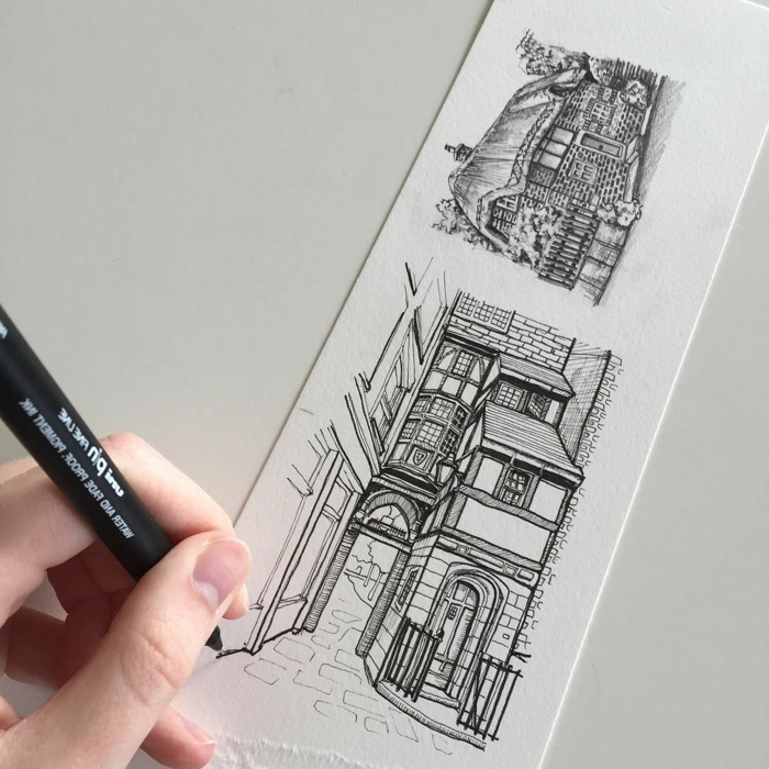 things to draw when your bored, drawing of two separate buildings, black pencil sketch on whtie background