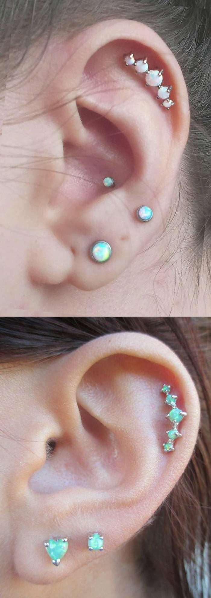 two close up photos of ears, wearing multiple different earrings with blue rhinestones, how much is a cartilage piercing