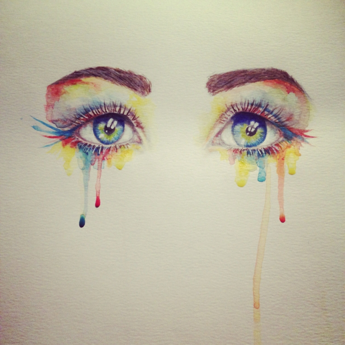 watercolor drawing, set of blue eyes, things to draw when your bored, multi colored paint dripping down as tears
