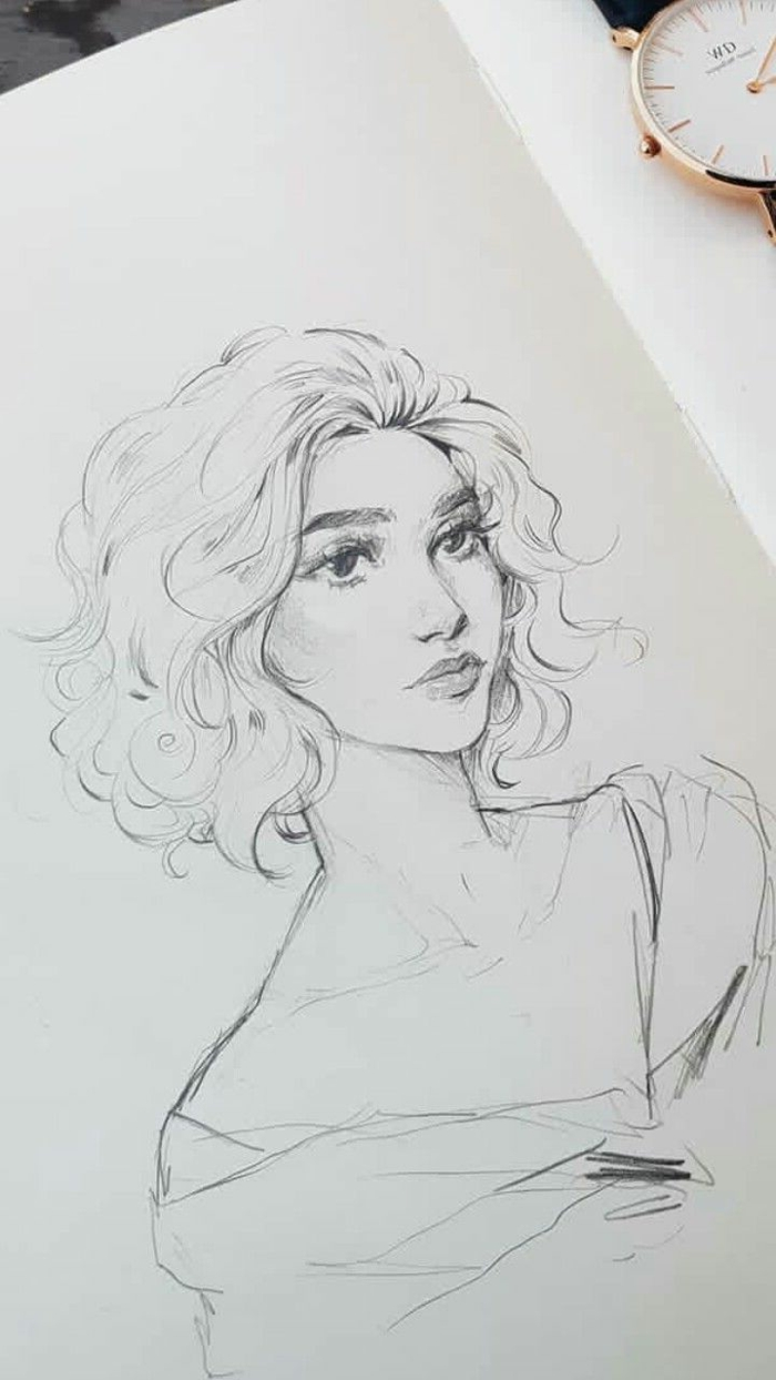 woman with short curly hair, black pencil sketch on white background, things to draw when your bored