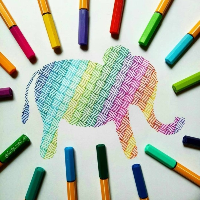 multi colored drawing of an elephant, things to draw when your bored, using pens in different colors