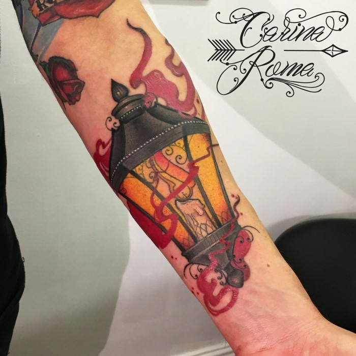 lantern with a candle inside, neo traditional tattoo designs, forearm tattoo, white background