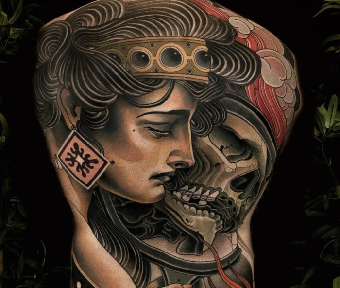 whole back tattoo, neo traditional tattoo designs, woman from ancient rome, skull next to her