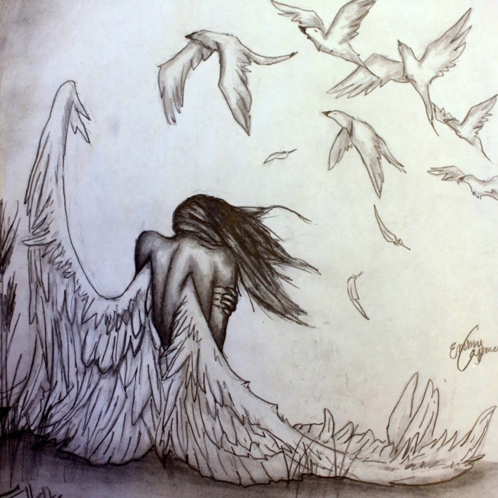 woman with angel wings, surrounded by birds flying over her, things to draw when your bored