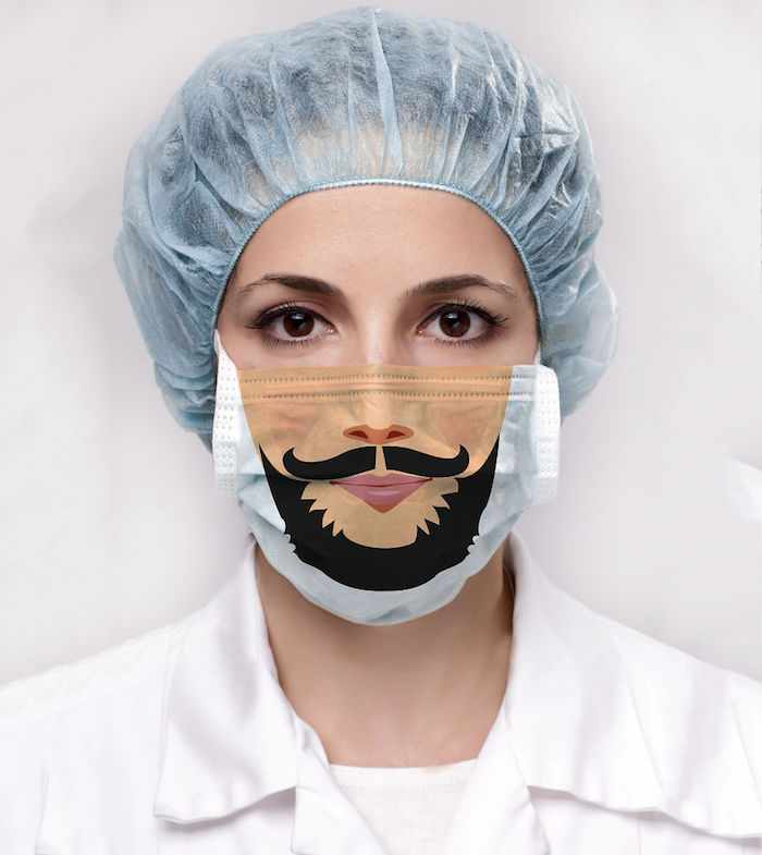 woman with brown eyes, wearing surgical hat, how to make a breathing mask, mask with beard printed on it
