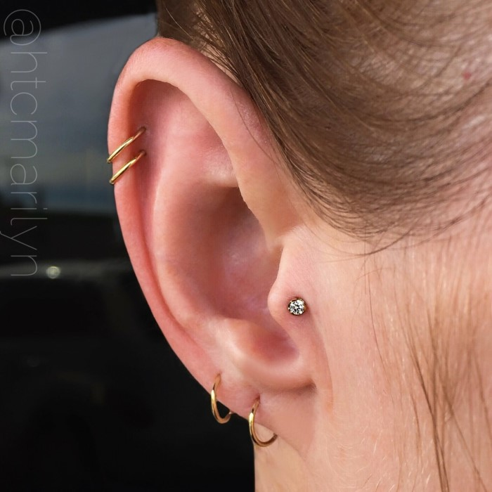 woman with brown hair, how to clean cartilage piercing, four gold ring earrings, one stud earring with rhinestone