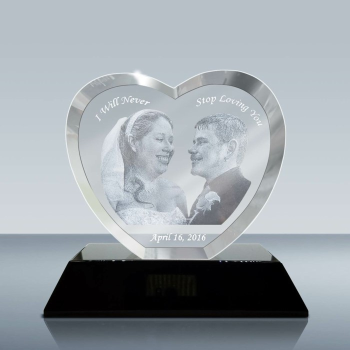 wedding anniversary gifts by year, i will never stop loving you, photo of the bride and groom, heart shaped crystal keepsake