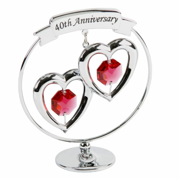 keepsake with two hearts, ruby crystals in the middle of the hearts, anniversary gifts for parents, white background