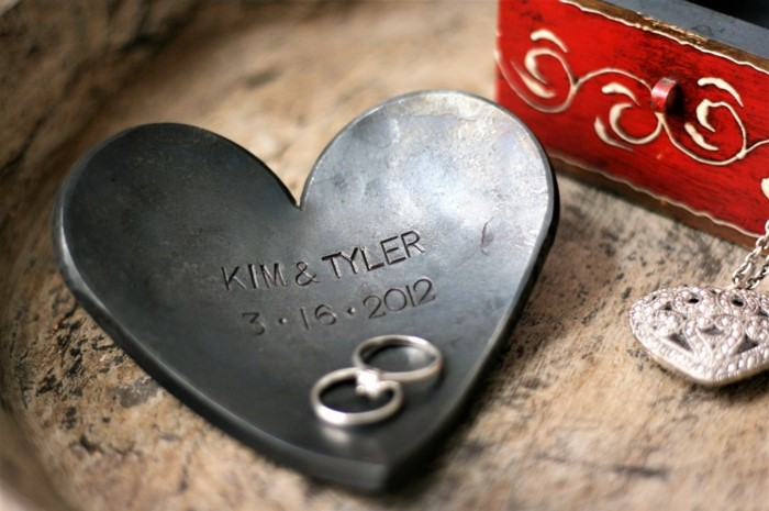 heart shaped jewelry plate, personalsed for kim and tyler, traditional anniversary gifts, wedding rings inside