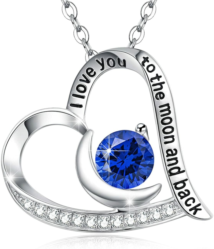 heart shaped necklace, sapphire crystal in the middle, anniversary gifts for parents, i love you to the moon and back engraved on it
