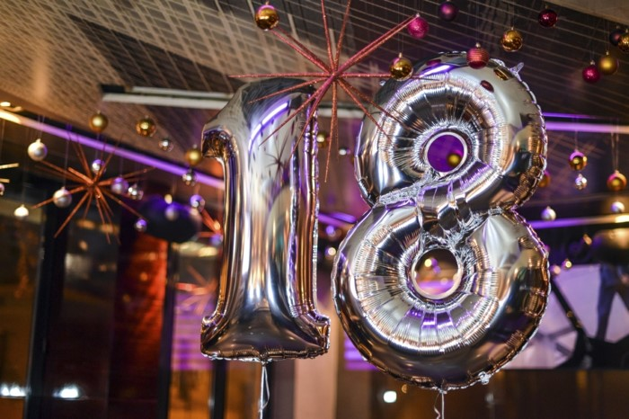 silver number 18 balloons, gifts for 18 year old boys, baubles hanging from the ceiling in purple and gold