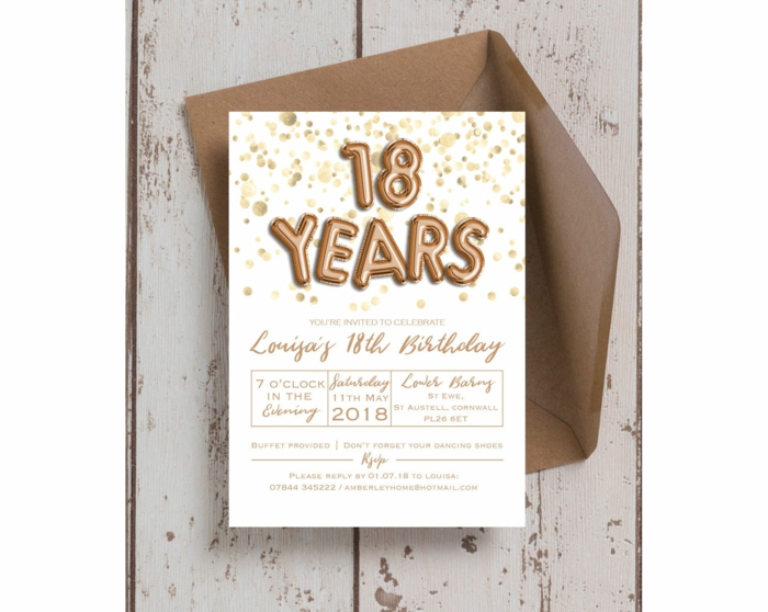 birthday party invitation, 18th birthday decorations, 18 years foil letters on white card stock, brown envelope