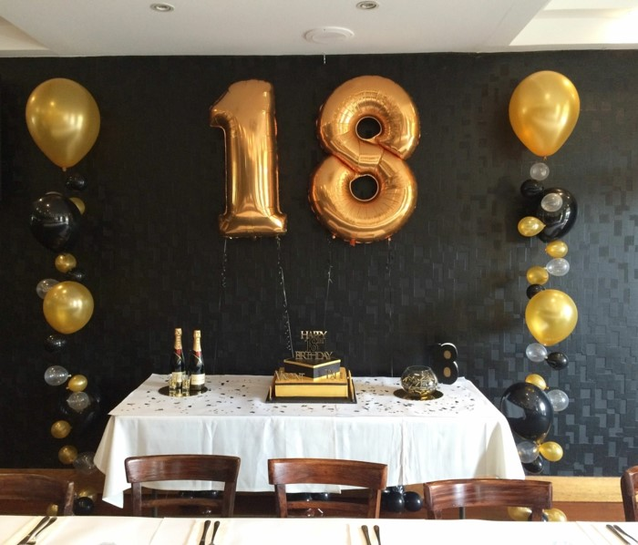 black and gold decor, large number 18 balloons, hanging on black wall, gifts for 18 year old boys, desserts table