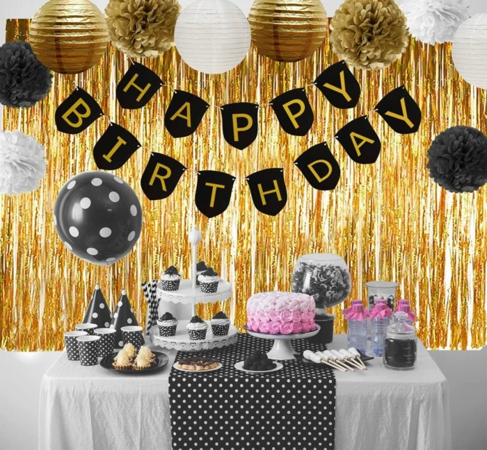 happy birthday banner, gifts for 18 year old boys, desserts table, black and gold paper flowers