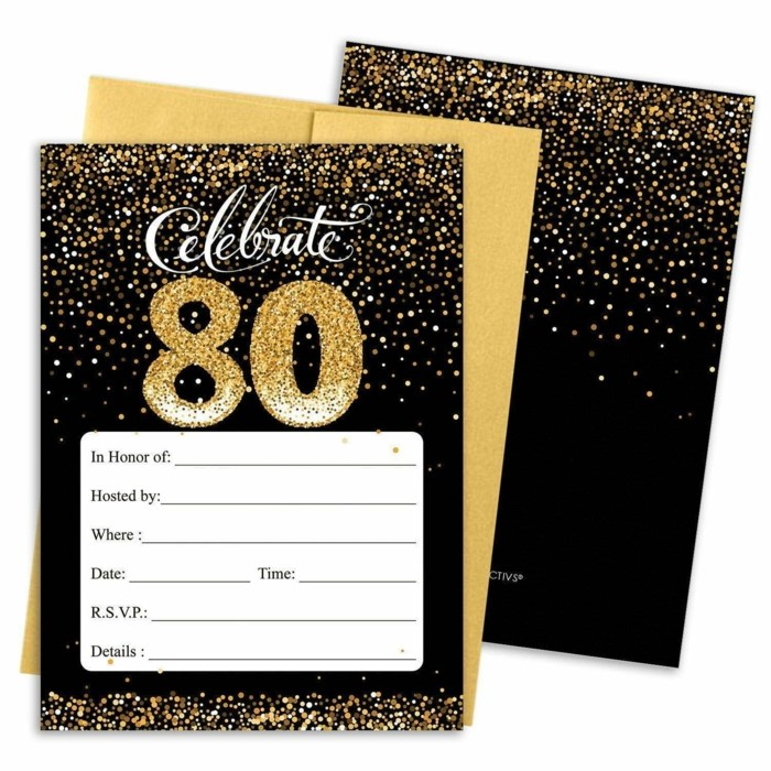 celebrate 80, party invitation, 80th birthday party ideas, invitations in black and gold