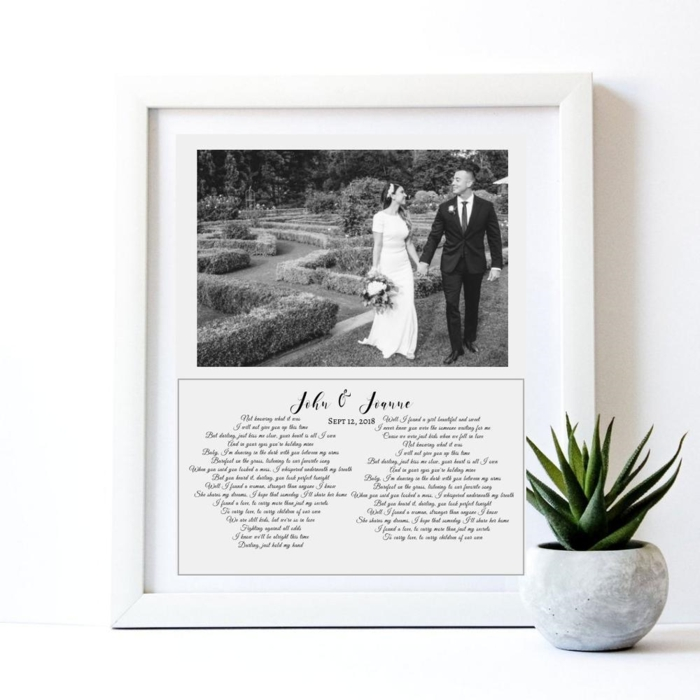 black and white photo of bride and groom, anniversary gifts by year, vows written underneath, inside a white wooden frame