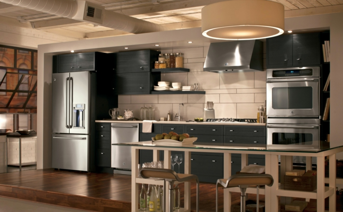 black kitchen cabinets with white countertop, contemporary kitchen cabinets, white tiles backsplash