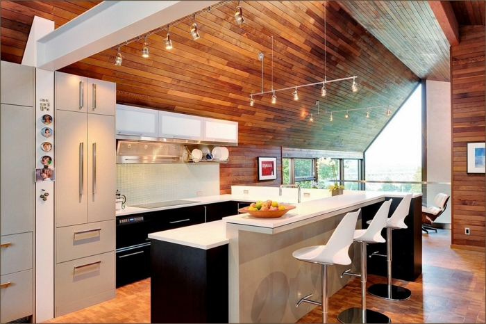 black kitchen cabinets with white countertops, contemporary kitchen cabinets, wooden ceiling