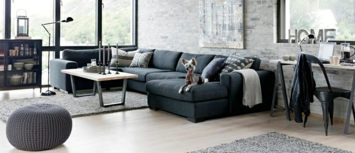 black corner sofa, grey knitted ottoman, how to decorate your living room, wooden coffee table