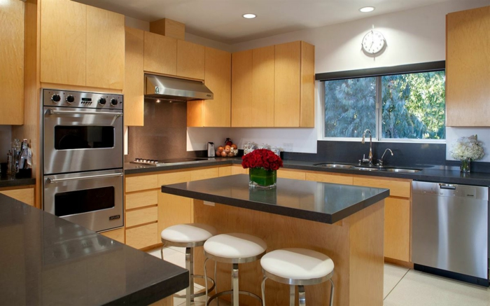 wooden kitchen cabinets, contemporary kitchen cabinets, small wooden kitchen island, black countertops