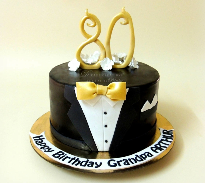 one tier cake, covered with black and white fondant, 80th birthday ideas for mom, suit cake