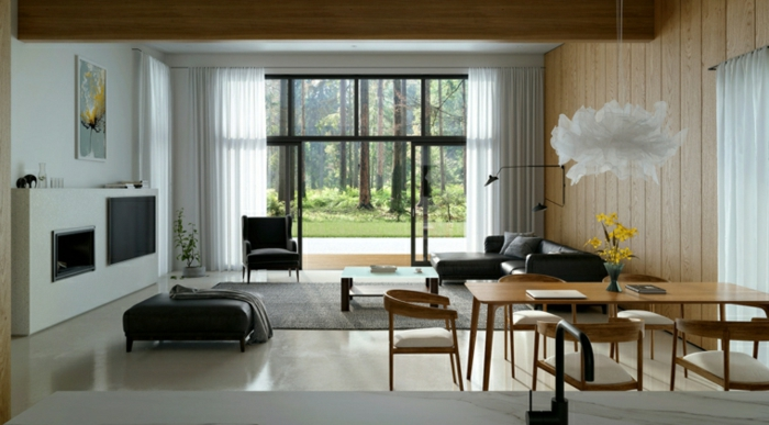wooden accent wall, modern living room ideas, black leather corner sofa and ottoman, wooden dining table