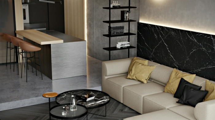 how to decorate a living room, marble accent wall, white leather corner sofa, kitchen island with bar stools