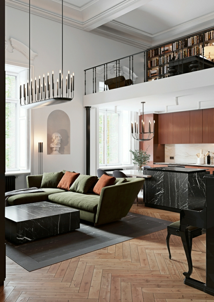 green corner sofa with orange throw pillows, how to decorate a living room, marble coffee table and kitchen island