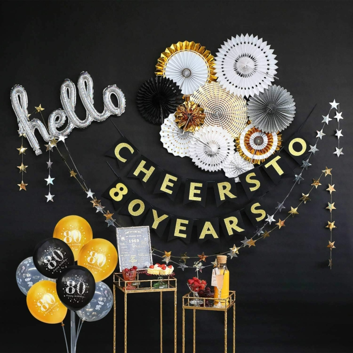 cheeres to eighty years banner, 80th birthday ideas for mom, black wall, two small tables for mimosa bar