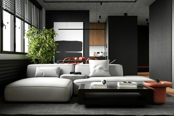 white corner sofa, black coffee table, living room furniture ideas, black walls and wooden floor