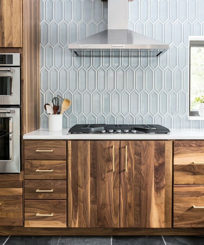 blue tiled backsplash, modern kitchen cabinets, wooden cabinets with white countertop