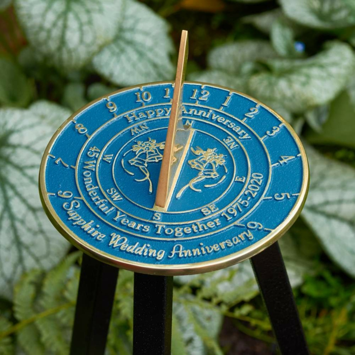 anniversary gifts for parents, blue personalised sundial, congratulatory message written on it