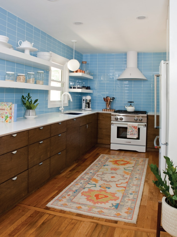 blue subway tiles backsplash, wooden cabinets with white countertops, modern kitchen cabinets, open shelving