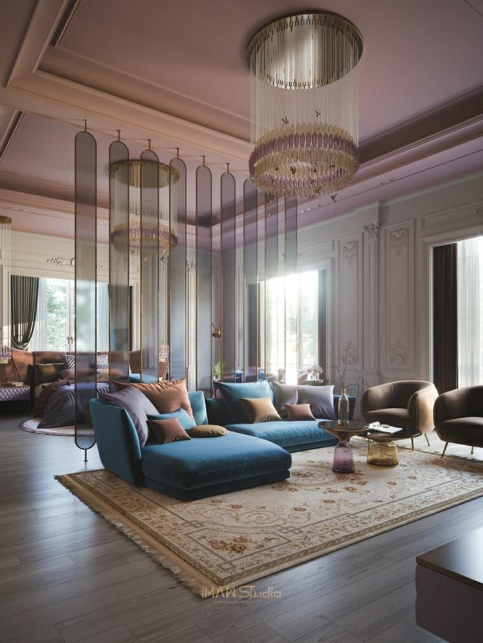 glass room separators, living room and bedroom, living room furniture ideas, blue corner sofa, wooden floor