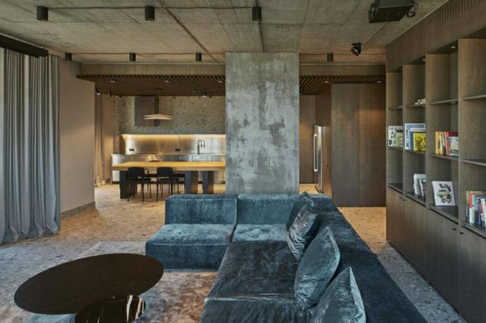 grey velvet corner sofa, black coffee table, living room furniture ideas, wooden bookshelves
