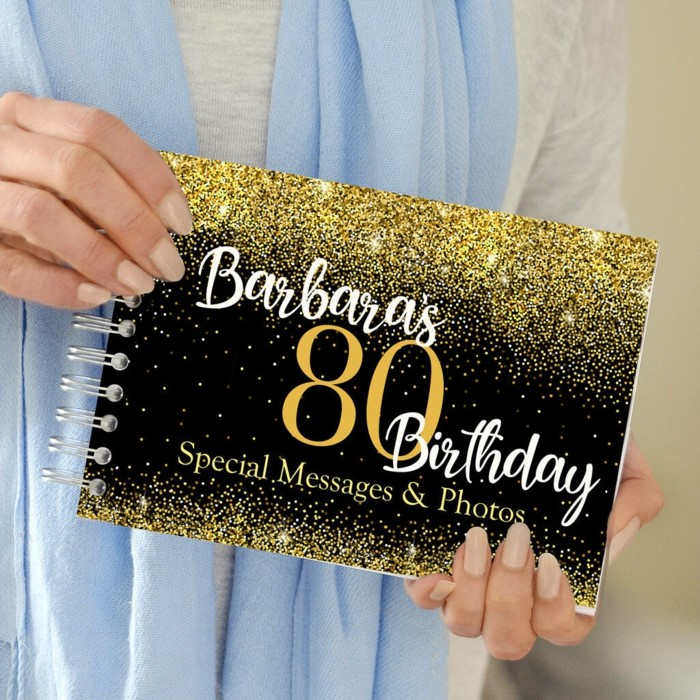 book for special messages and photos, 80th birthday party ideas, black background with gold decorations