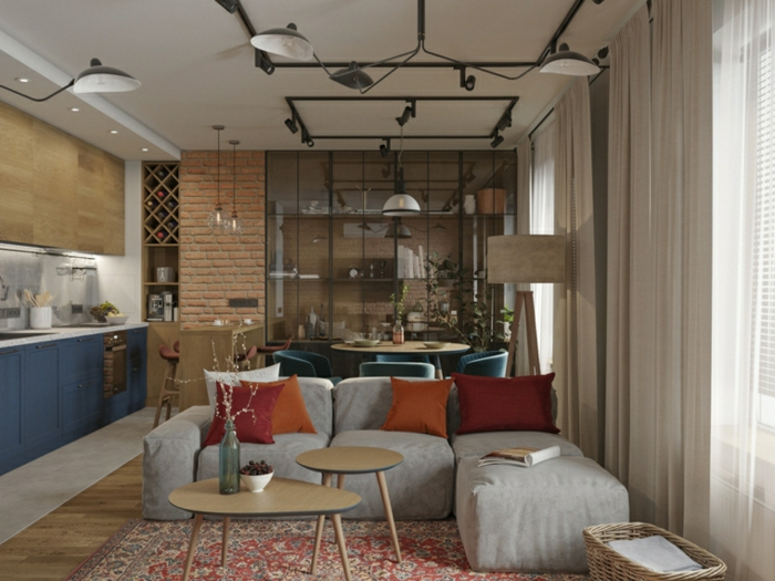 open plan space with kitchen and living room, modern living room decor, white corner sofa, carpet on wooden floor