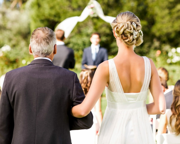 photo taken from behind, wedding entrance songs, bride walking down the aisle with her father