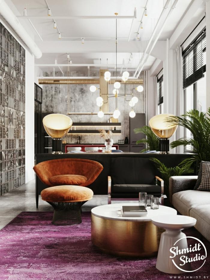 brown velvet armchair and ottoman, modern living room decor, tiled floor with purple carpet, kitchen island