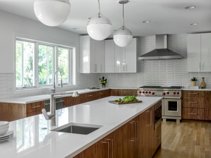 wooden cabinets with white countertops, white subway tiles backsplash, mid century modern kitchen cabinets