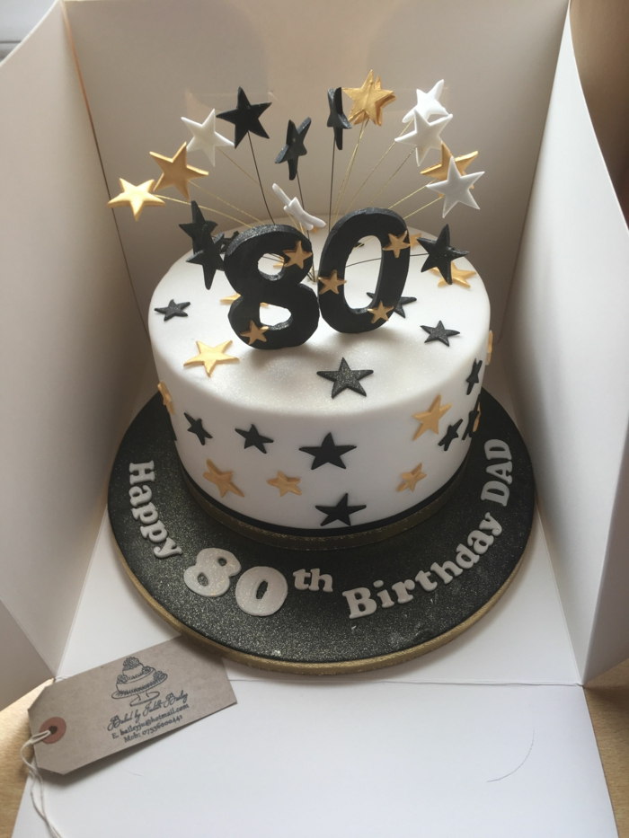 one tier cake, covered with white fondant, happy 80th birthday, decorated with black and gold stars