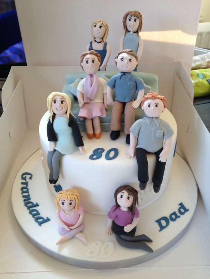 one tier cake covered with white fondant, happy 80th birthday, family member figures made of fondant
