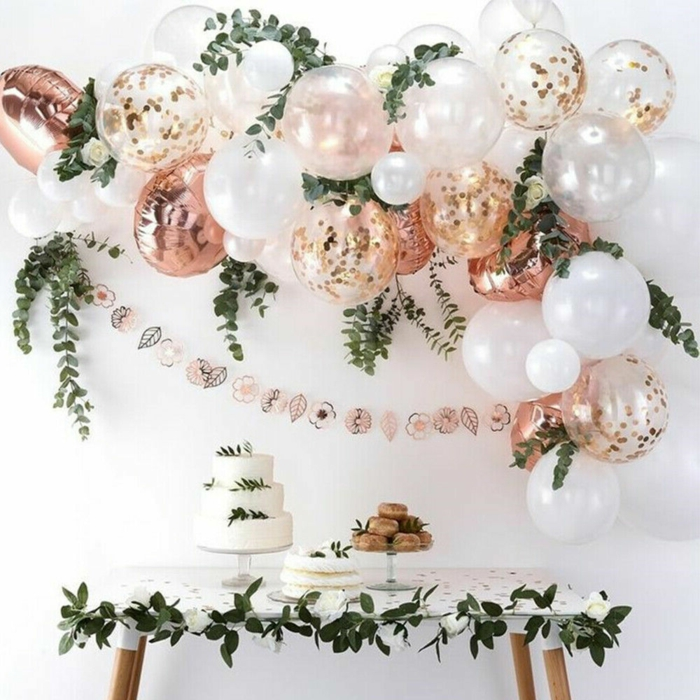 white and rose gold ballons, hanging over desserts table, 18th birthday gifts, three tier cake