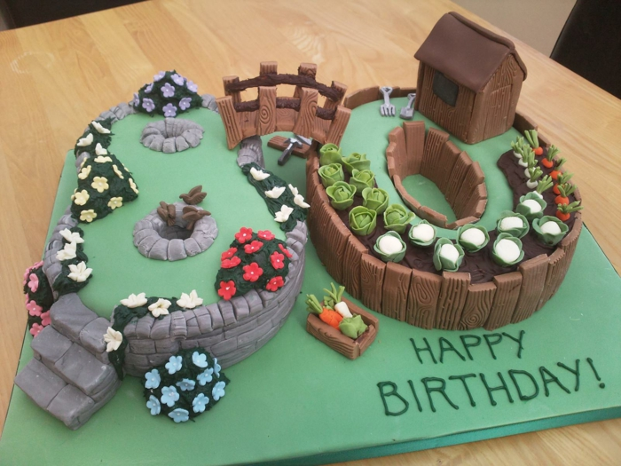cake in the shape of number 80, 80th birthday ideas, decorated as a garden with flower beds