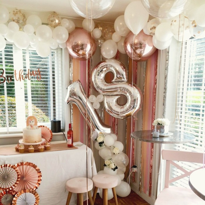 silver number 18 balloon, 18th birthday ideas, dessert table, surrounded by balloons, rose gold decor