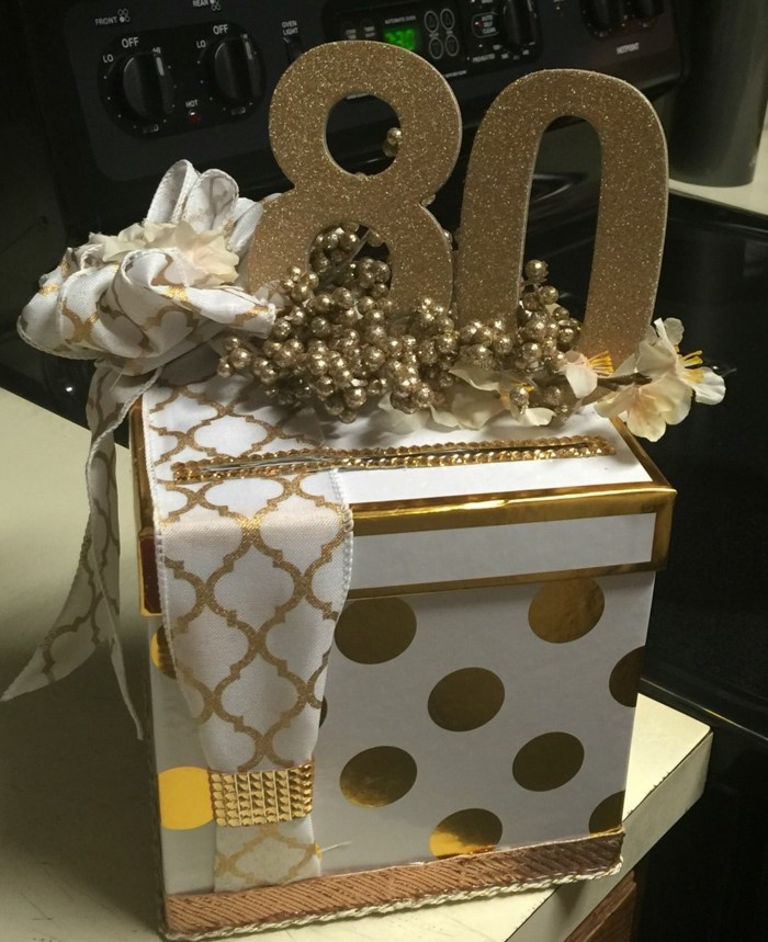 card and money box, white with gold decorations on it, 80th birthday party ideas, gold glitter number 80 on top