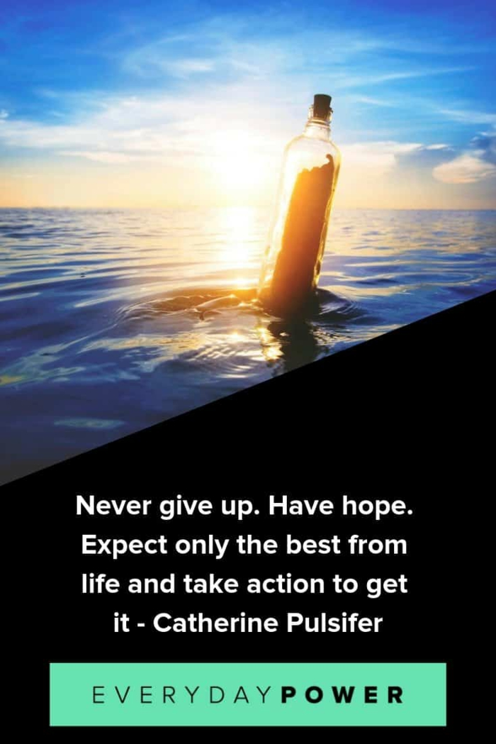 catherine pulsifer quote, hope quotes, background photo of message in a bottle, white letters on black background