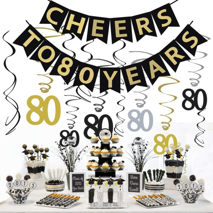 cheers to 80 years, black banner with gold letters, 80th birthday decorations, hanging over desserts table