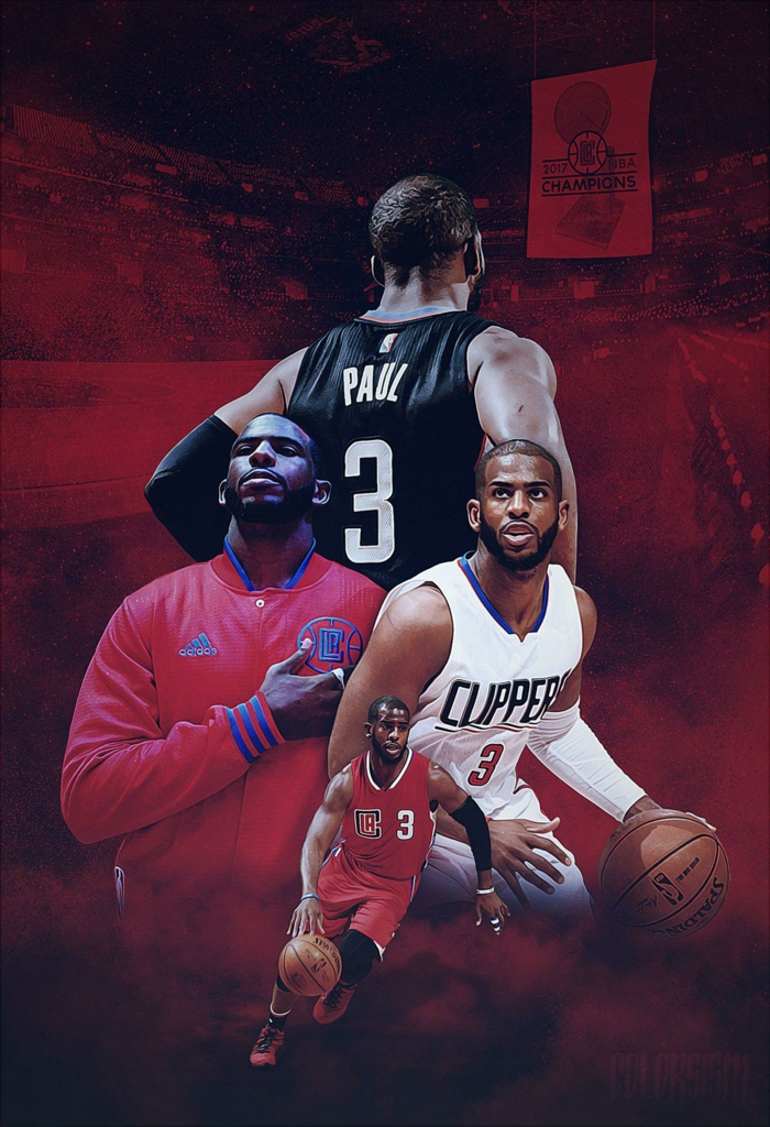 chris paul, wearing los angelels clippers uniform, basketball wallpaper iphone, photo edit