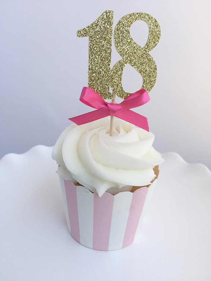 mini cupcake, number 18 gold glitter cupcake topper, birthday party themes, pink ribbon